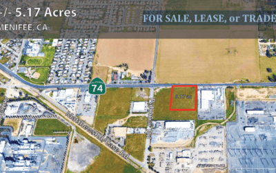 +-5.17 Acres of Frontage on Highway 74, Menifee, California FOR SALE, LEASE, or TRADE